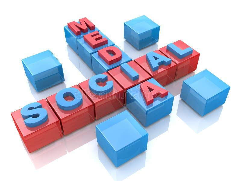Crucigrama social de los medios 3D en el fondo blanco stock de ilustración