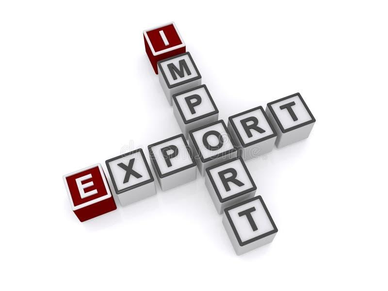 Crucigramas de la importación y de la exportación foto de archivo