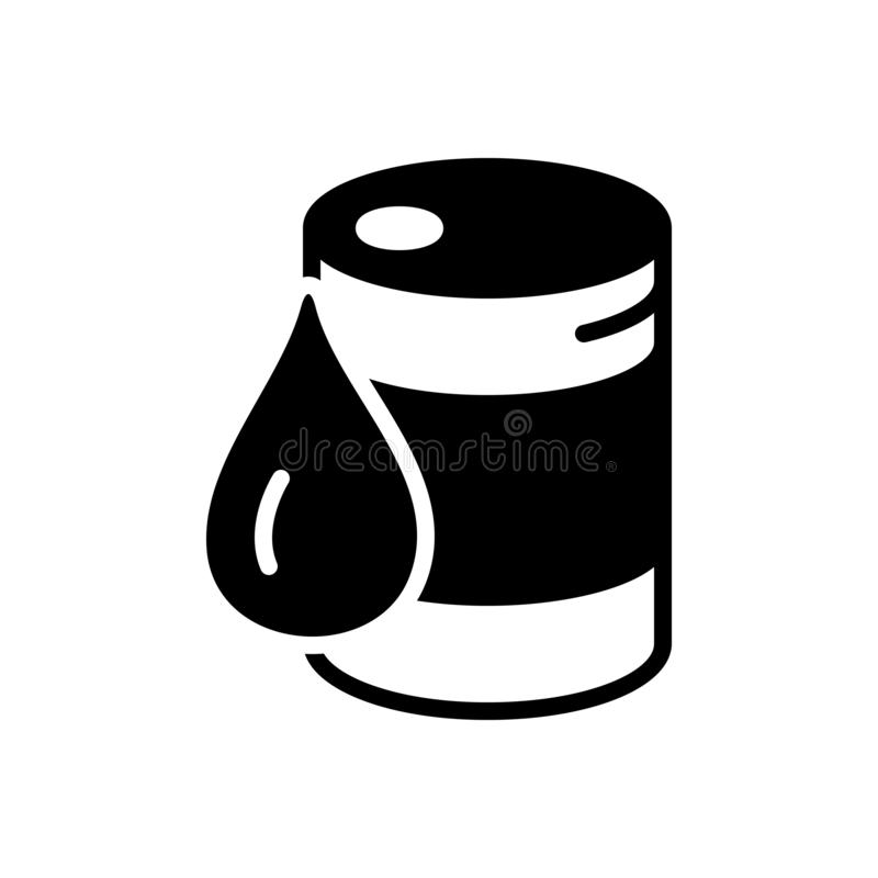 Black solid icon for Crude, drop and container. Black solid icon for Crude, oil, fuel, chemical, drum, miscellaneous,  drop and container royalty free illustration
