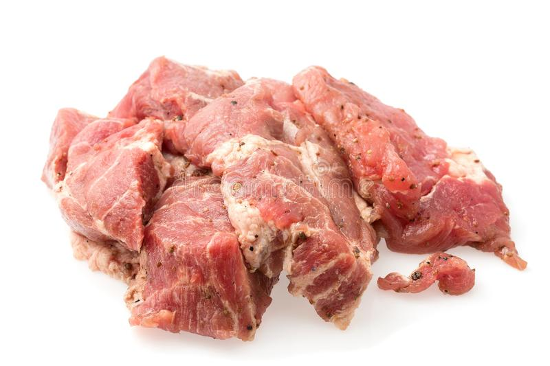 Crude meat on a white backgrounds stock photography