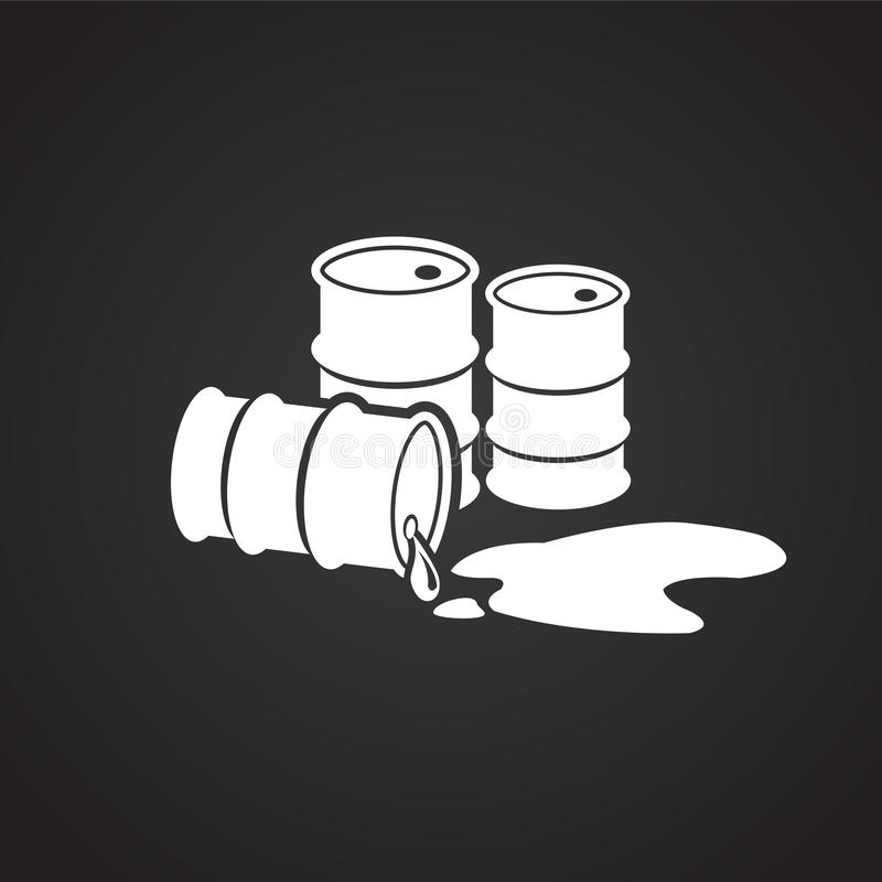 Crude oil barrels on black background leaking. Icon royalty free illustration