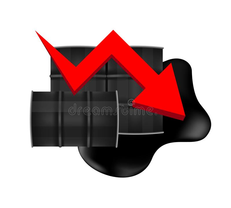 Crude oil barrels with falling graph symbol red arrow isolated on white background, black metal barrel and crude oil drop. The crude oil barrels with falling stock illustration