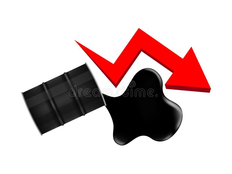 Crude oil barrels with falling graph symbol red arrow isolated on white background, black metal barrel and crude oil drop. The crude oil barrels with falling vector illustration