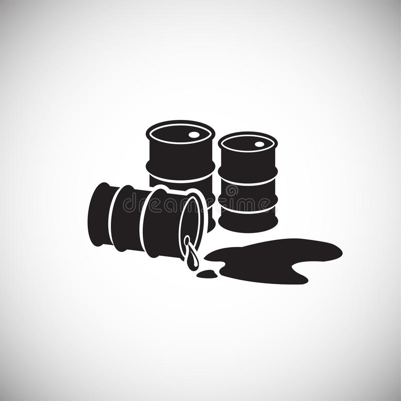 Crude oil barrels on white background leaking. Icon vector illustration
