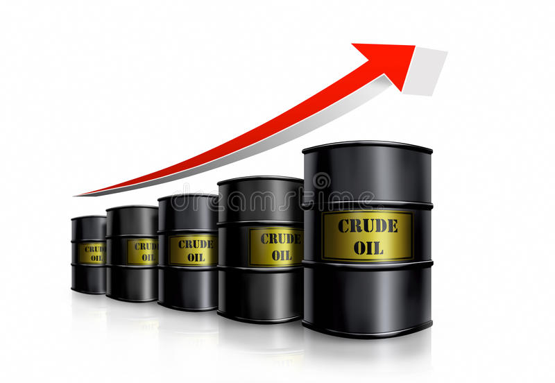 Crude oil diagram. Barrel price stock illustration
