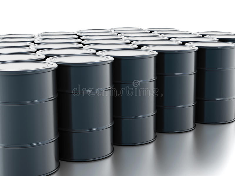 Crude oil drums. Isolated on white stock photo