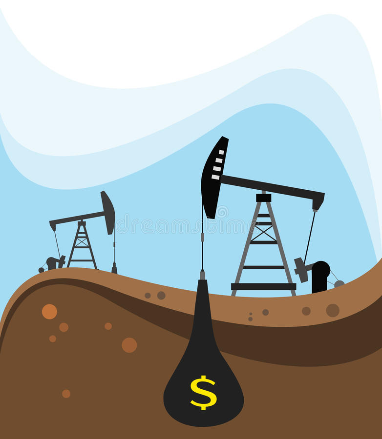 Crude oil extraction. Colourful illustration of pump jack dwelling crane extracting crude oil from a well vector illustration