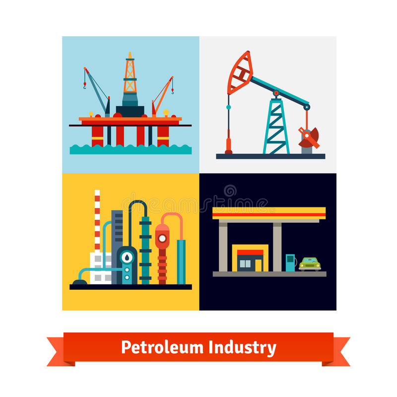 Crude oil extraction, refining, selling business. Crude oil extraction, refining and selling business. Sea petroleum rig, pump, refinery and gas station. Flat vector illustration