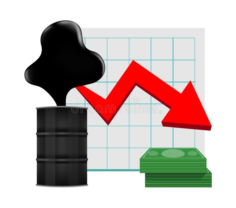Crude oil with falling graph and dollars symbol red arrow isolated on white background, black crude oil drop and spill, icon. The crude oil with falling graph vector illustration