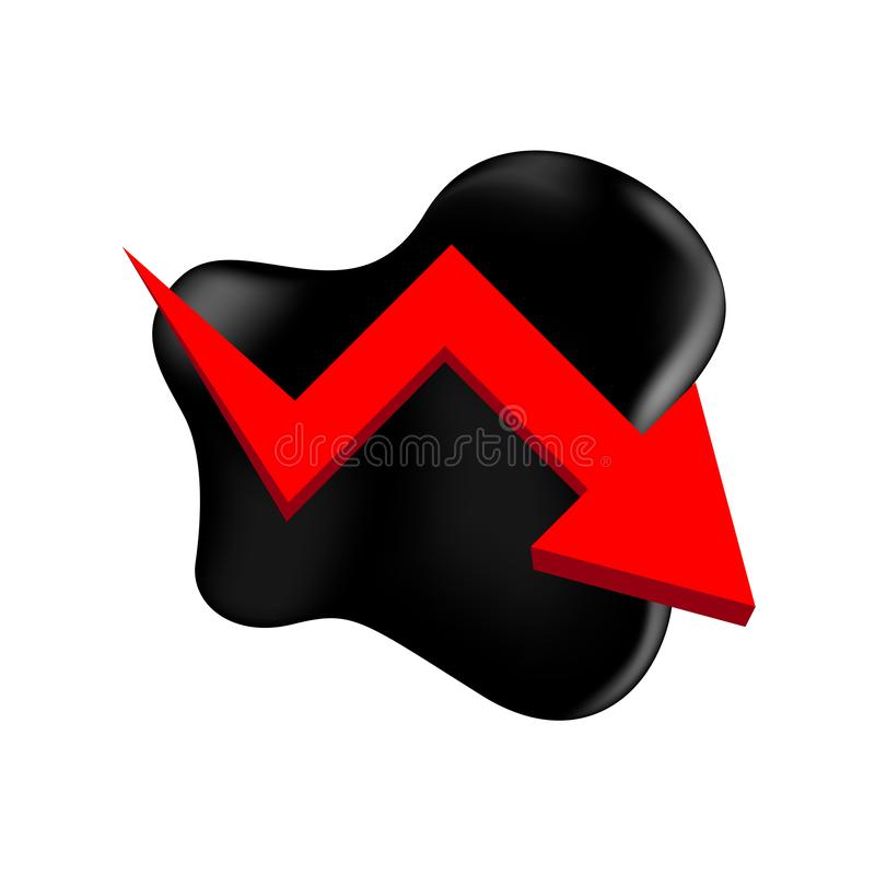 Crude oil with falling graph and symbol red arrow isolated on white background, black crude oil drop and spill, icon of crude oil. The crude oil with falling vector illustration