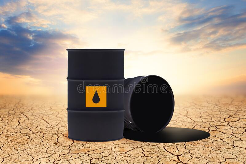 Crude oil and opened barrels on sky clouds background. Environment protection and toxic pollution concept.  stock illustration