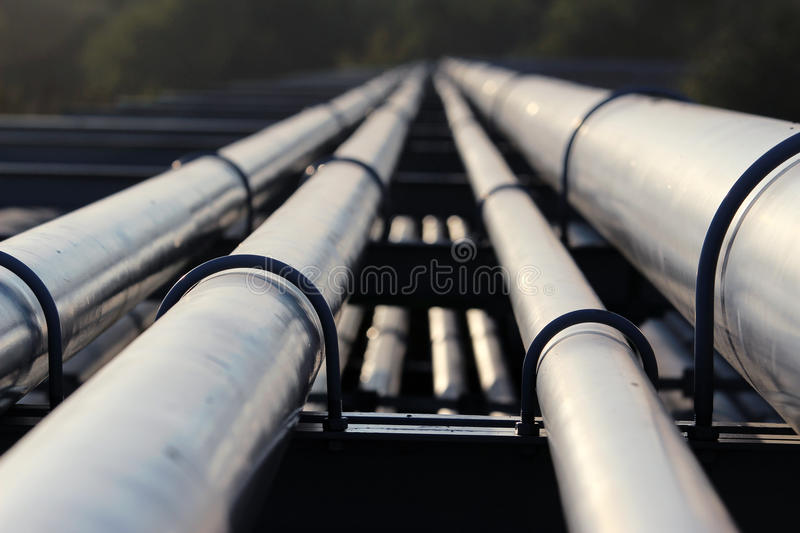 Crude oil pipeline transportation to refinery stock photo