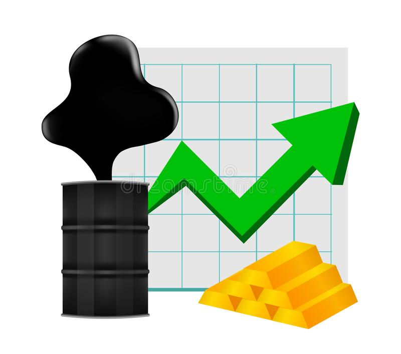 Crude oil with pointing up graph and gold bar symbol green arrow isolated white background, black metal barrel and crude oil drop. The crude oil with pointing up stock illustration