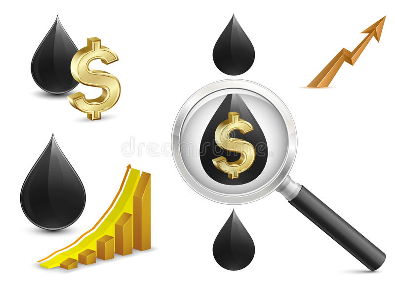 Crude oil price. Growth Chart with crude oil and dollar sign on background. Magnifying glass stock illustration