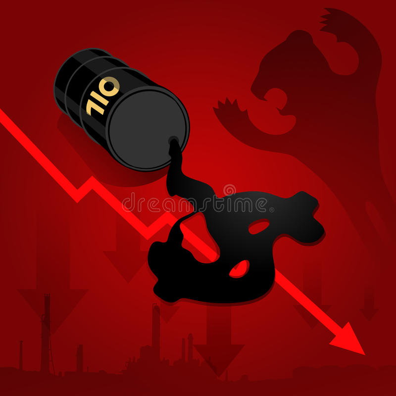 Crude oil price fall down abstract illustration with red leaked. Crude oil price fall down abstract illustration with oil leaked oil from barrel form dollar sign vector illustration