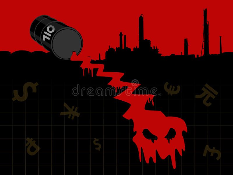 Crude oil price fall down with refinery plant and currency. Red crude oil price fall down form evil head with currency and refinery plant royalty free illustration