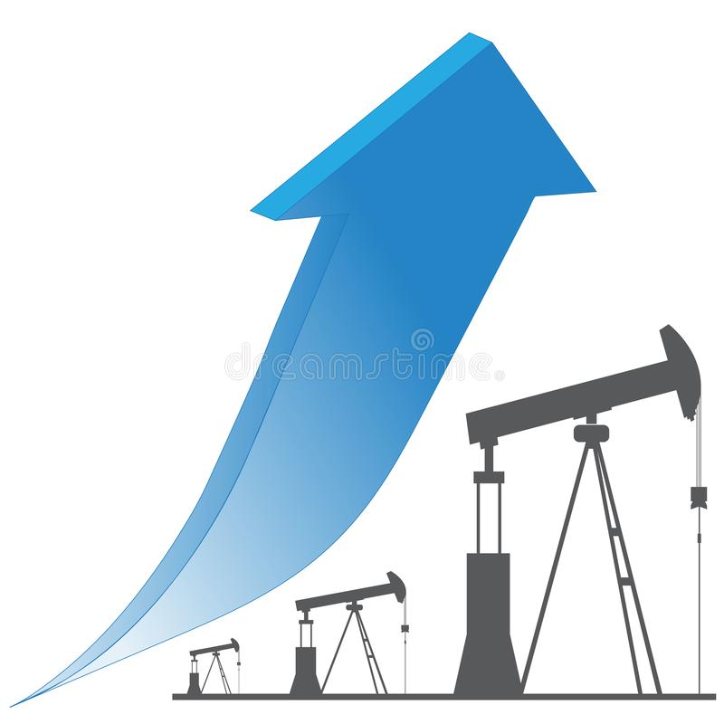Crude oil price up trend,. Crude oil price up trend blue arrow and black oil rig stock illustration