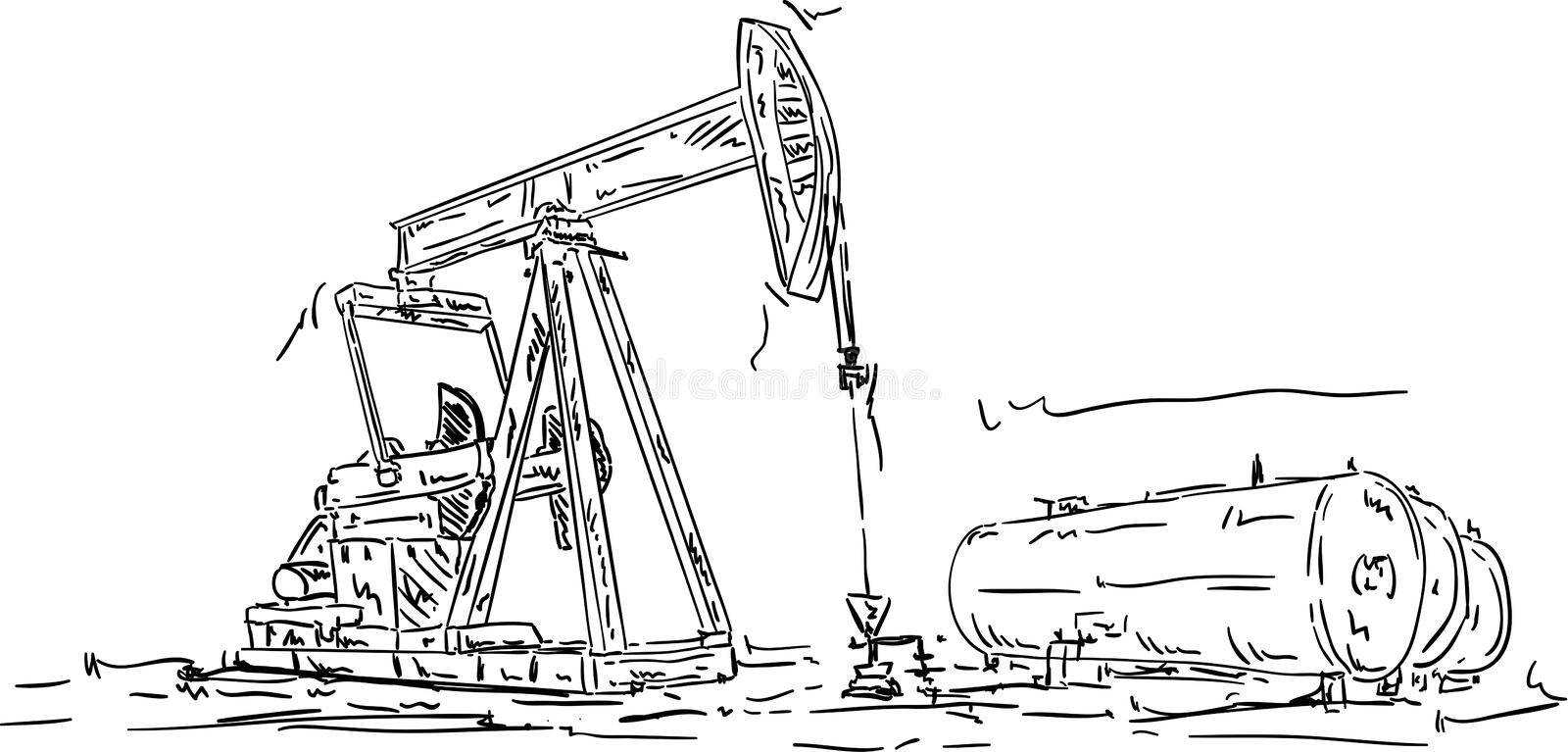 Crude oil production. Vector - Crude oil production, hand draw vector illustration