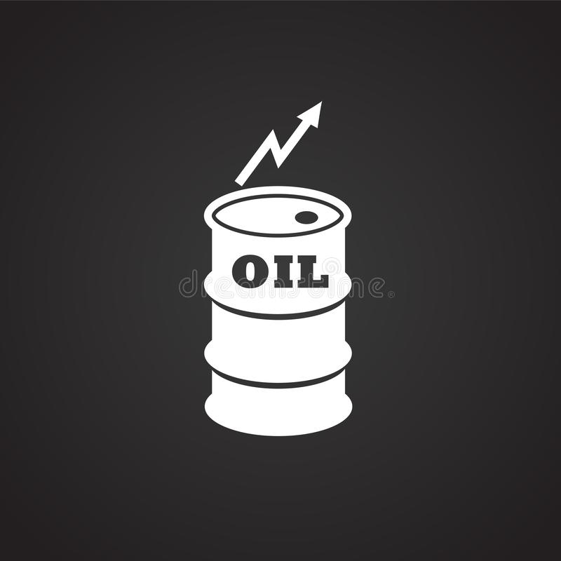 Crude oil rate barrel on black background. Icon stock illustration