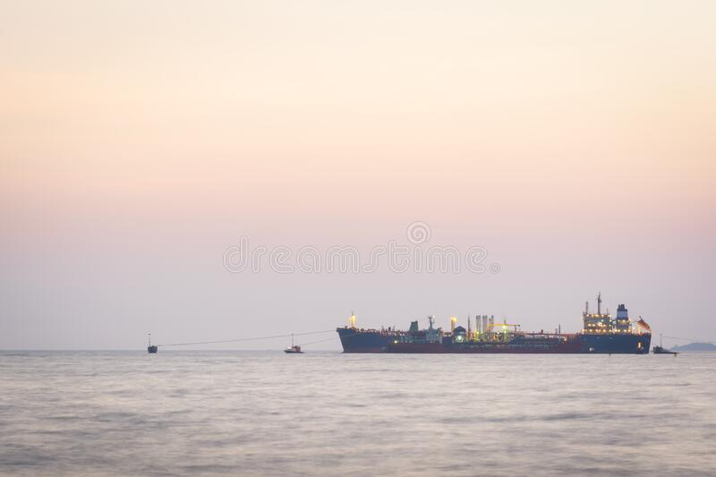 Crude oil tankers loading stock images
