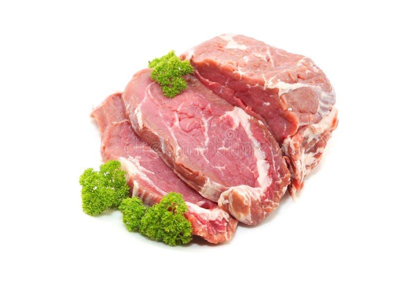 Crudo cortado de la carne de la carne de vaca o del filete del ojo de la costilla fotografía de archivo