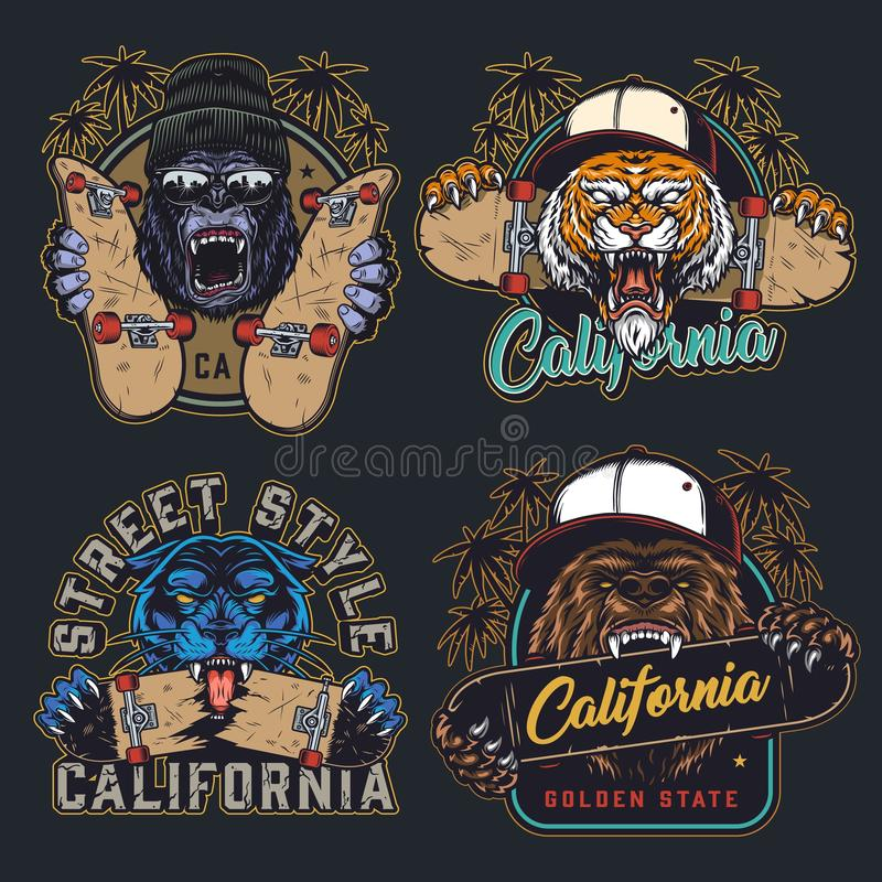Free Cruel Animals And Skateboards Colorful Emblems Stock Photography - 167494492