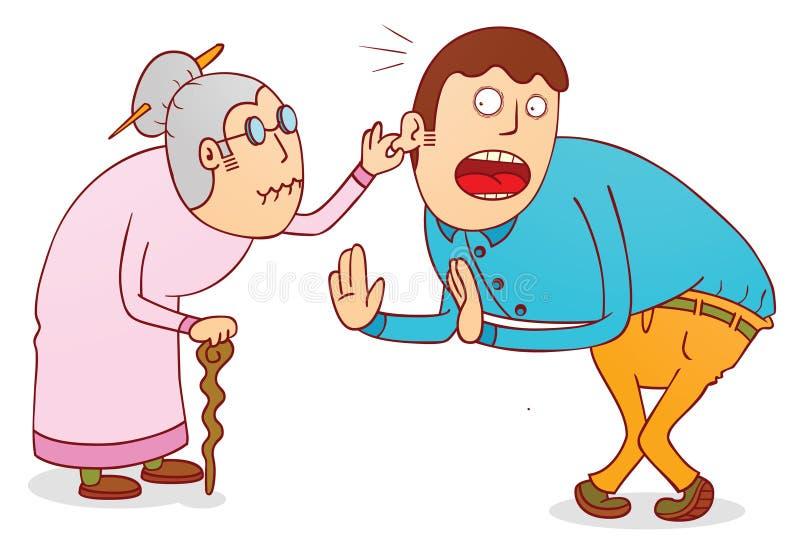 Cruel grandma. Illustration of a cruel grandma with his son available in vector eps 8 file vector illustration