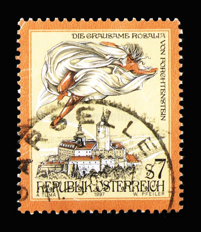 The cruel Rosalia of Forchtenstein, Sages and Legends serie, cir. MOSCOW, RUSSIA - MARCH 18, 2018: A stamp printed in Austria shows The cruel Rosalia of royalty free stock images