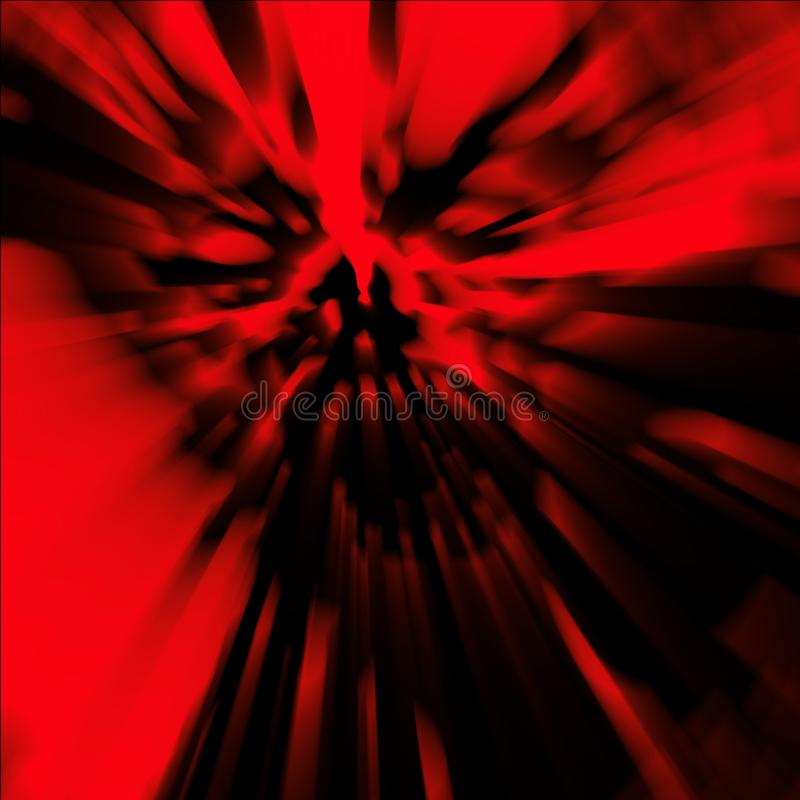 Cruel zombie head. Illustration in genre of horror. Danger character face. Blur effect. Cover in red color stock images