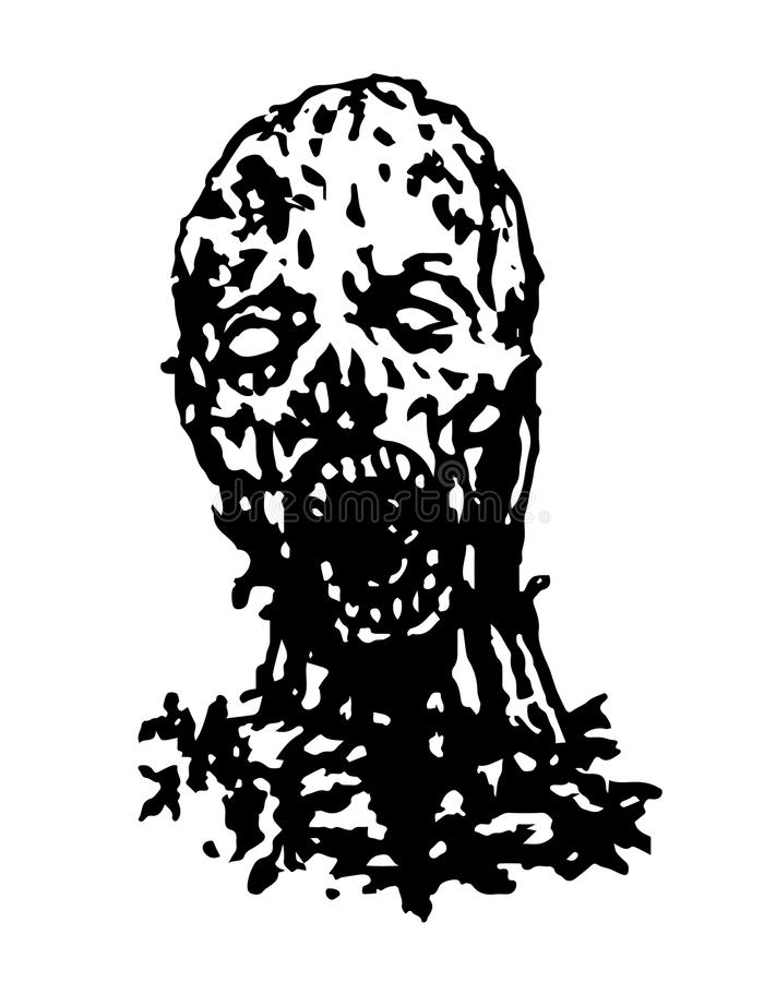 Cruel zombie head. Vector illustration. Black and white colors royalty free illustration