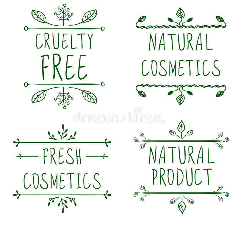 Cruelty free, natural cosmetics, natural product, fresh cosmetics. Flourish vignettes and handwritten letters. VECTOR. Green lines, isolated on white vector illustration