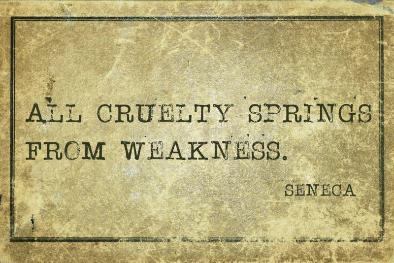 Cruelty Seneca. All cruelty springs from weakness - ancient Roman philosopher Seneca quote printed on grunge vintage cardboard stock illustration