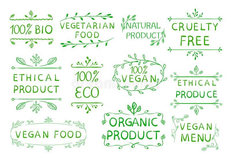 100 cruetly vrij veganist ethisch product Uitstekende hand getrokken elementen Groene lijnen vector illustratie