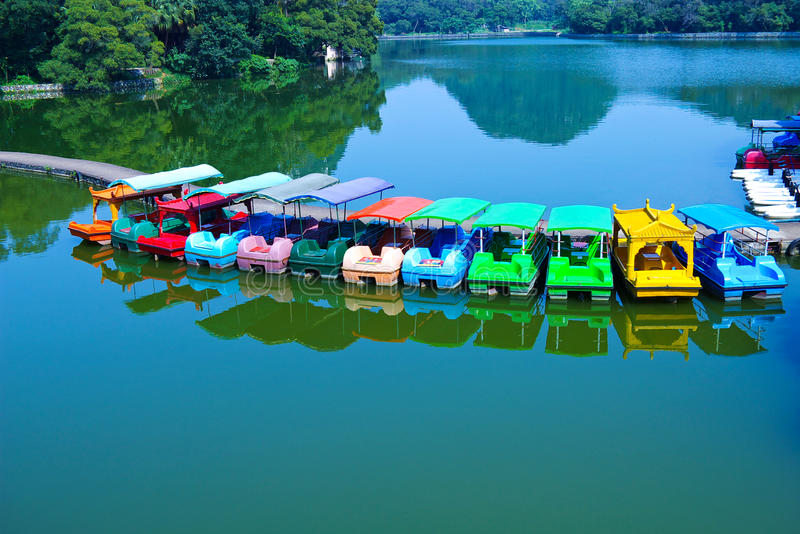 Cruise. Floating boat on the lake in the park stock photo