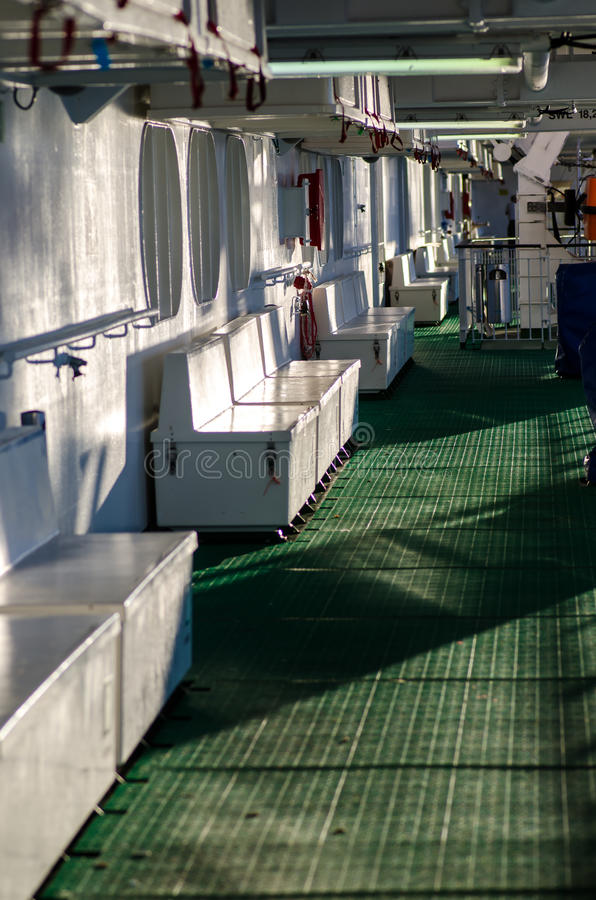 Cruise boat deck. In the morning sun stock photos