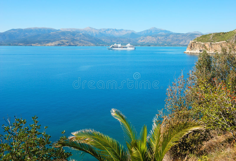 Cruise boat in the sea of greece royalty free stock images