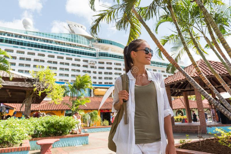 Cruise boat tourist at port of call in duty-free shopping stores at harbor docks. Happy woman buying souvenirs in local shops. Outdoor market at Castries royalty free stock image