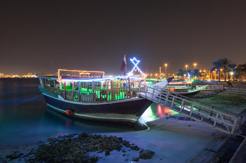Cruise dhow in Doha, Qatar royalty free stock image
