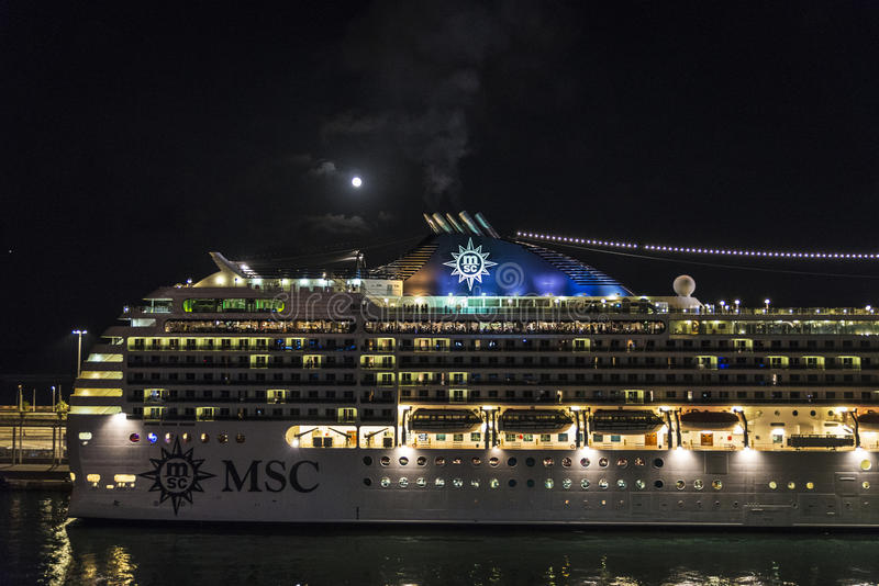 Cruise on a full moon night, Barcelona royalty free stock images