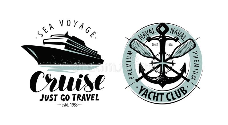 Cruise, het embleem van de jachtclub of etiket De geroeste, oude, symbolische ketting van een anker met boten verdween terug lang royalty-vrije illustratie