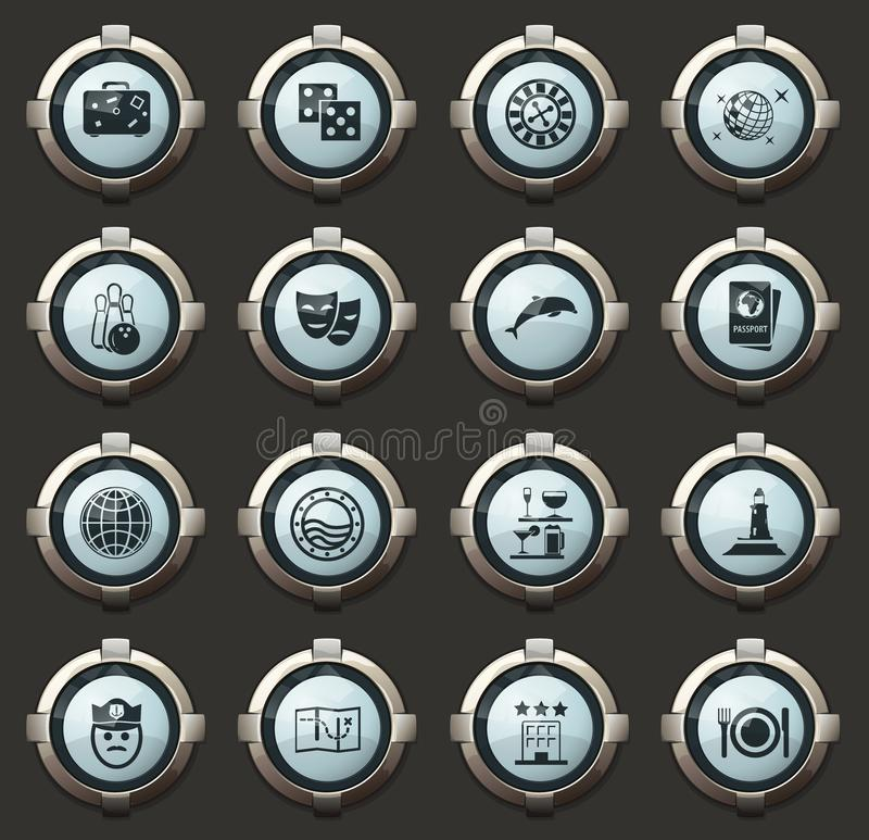 Cruise icon set. Cruise vector stylish round buttons for mobile applications and web vector illustration