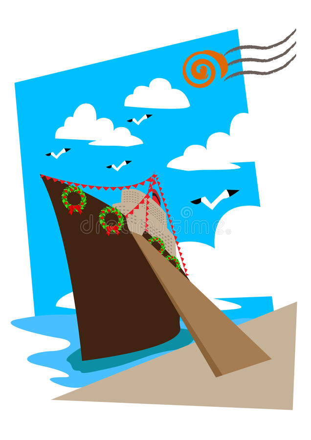 Download Cruise line with a wreath stock illustration. Illustration of entrance - 22591782