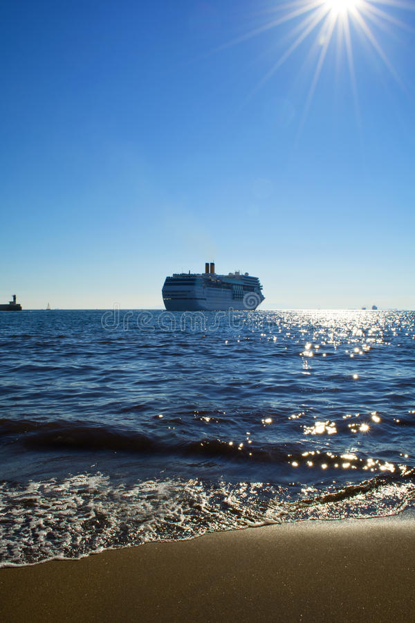 Cruise liner. In the Aegean sea, Greece stock images
