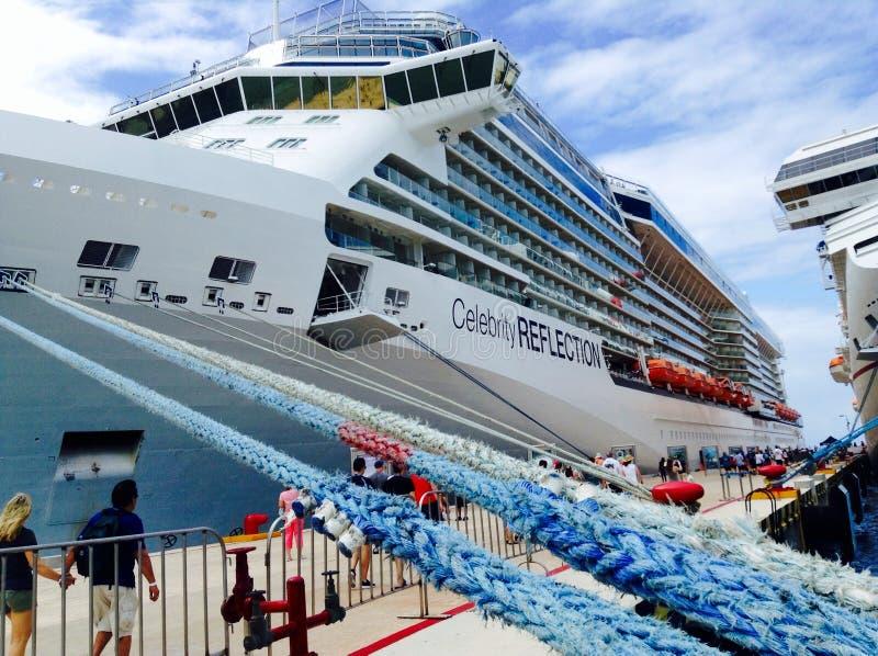 Cruise liner Celebrity Reflection. Celebrity Reflection cruise ship docked in Cozumel, Mexico royalty free stock photos