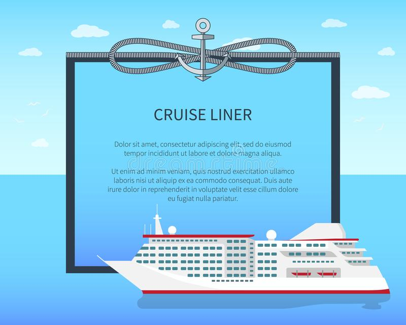 Cruise Liner Colorful Banner Vector Illustration. Bright sky with clouds image with cordage spiral and anchor, sea liner, cruise travel, place for text stock illustration
