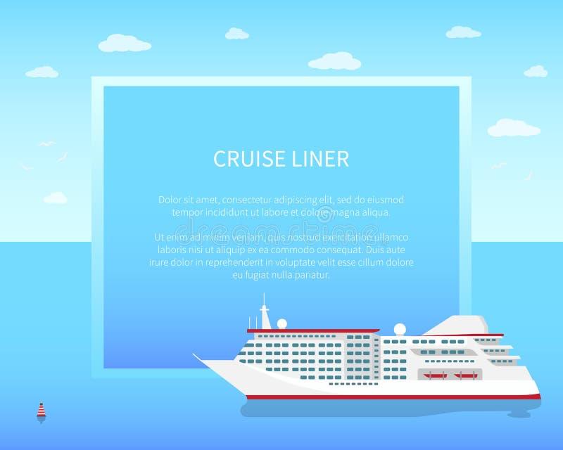 Cruise Liner Poster, Color Vector Illustration vector illustration