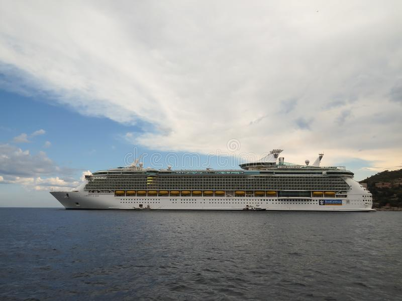 Cruise liner Royal Caribbean Liberty of the Seas in Villefranche lagoon stock photo