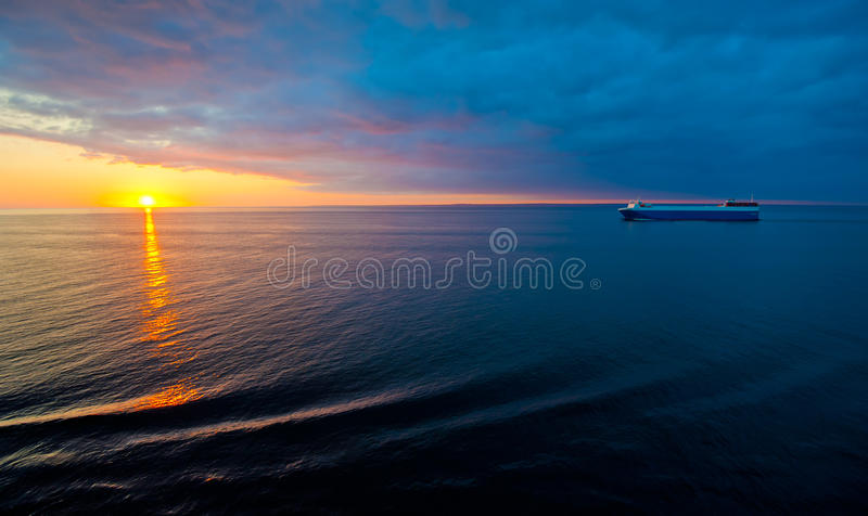 Download Cruise Liner In The Sea At Sunset Stock Photo - Image: 22073172