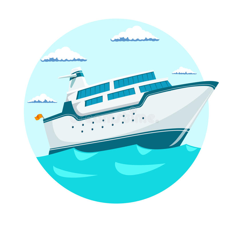 Cruise liner ship vector illustration. Cruise liner ship emblem blue color vector illustration royalty free illustration