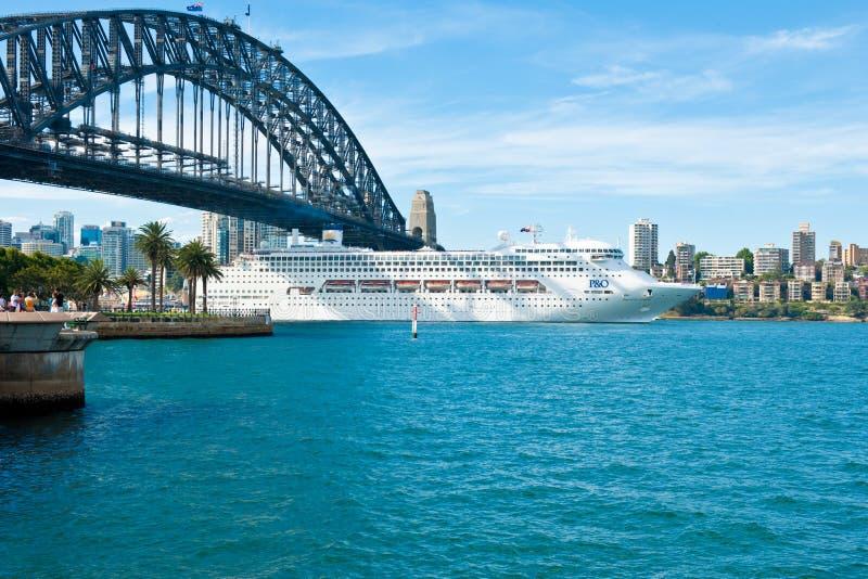 Cruise Liner under Sydney Harbour Bridge royalty free stock photo